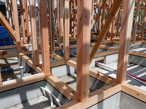 上棟翌日の主要構造材02