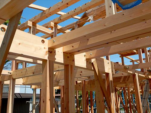 上棟翌日の主要構造材05