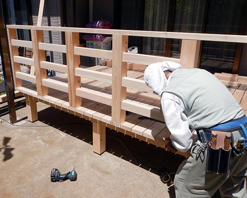 手摺り柵の施工