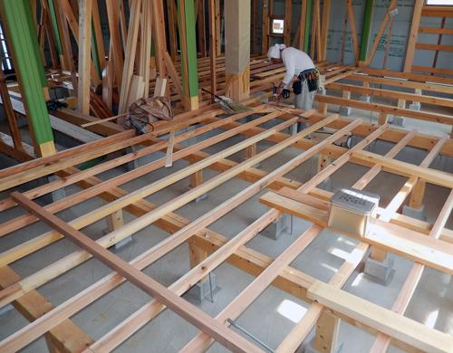 一階床下地材の施工