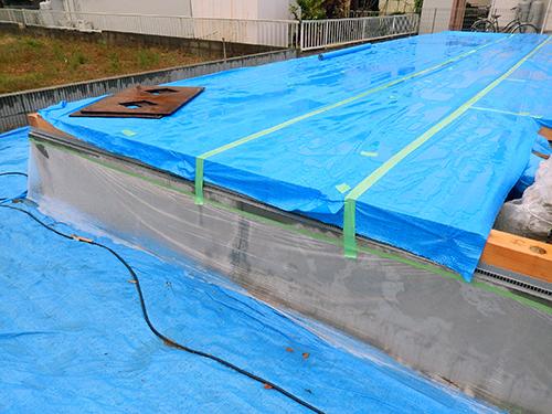 養生シートに溜まった雨水02